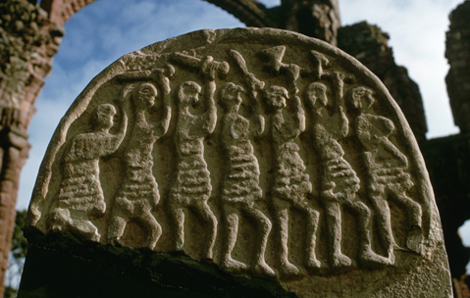 This is the grave marker showing the Viking raiders I mentioned in the beginning. Photograph stolen from bbc.co.uk
