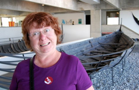 Mum at the Viking Ship Museum, Roskilde, Denmark, 2008. Red haired like Boudicca - perhaps from Celt ancestry, or a contribution from the strapping Norse rapists of more than a millennia ago